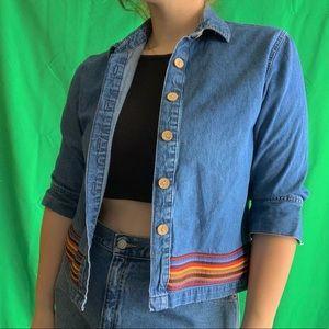 Vintage Denim Cropped Sweater Jacket size L
